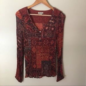 LUCKY BRAND Boho Brown Red Lace Top Blouse Medium